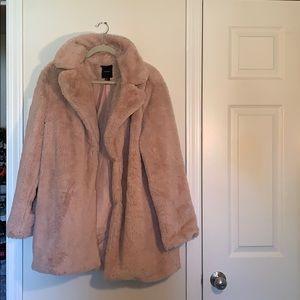 big pink furry jacket w/ pockets